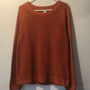 •J. Crew• Orange Waffle Knit Sweater, Size XL